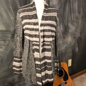 Striped Swing sweater in black and cream